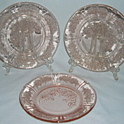Lot of Sharon Pink Depression Glass Bread Plates