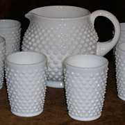 Fenton Milk Glass Hobnail Squat Jug Pitcher & Tumblers Set