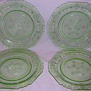 SOLD Lot of 4 Four Green Depression Florentine No. 1 Dinner Plates