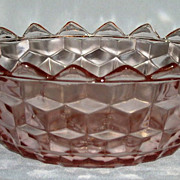 "Cube Cubist  Pink Depression Glass Jeannette 7.5"" Bowl w/ Pointy Rim"