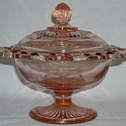 Lace Edge Old Colony Pink Depression Footed Candy Dish w/ Lid