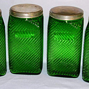 "Set OF 4 Tall 7 1/2"" Owens Illinois Forest Green Depression Era Canisters"