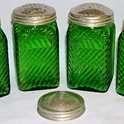 "Set of Four 4 1/4"" Owens Illinois Forest Green Depression Era Shakers"