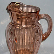 Pillar Optic Pink Depression Glass Pitcher w/ Ice Lip