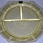 Depression Glass Topaz Princess Grill Plate Mint w/ Original Tag Attached