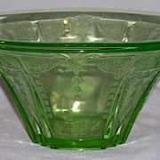 "Princess Green Depression Glass 9.5"" Hat Shaped Bowl  1931-1934"