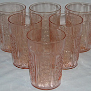 Lot of Sharon Pink Depression Glass Tumblers