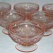 Lot of Pink Sharon Depression Glass Sherbets