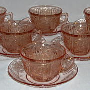 Lot of Pink Sharon Depression Glass Cup & Saucers