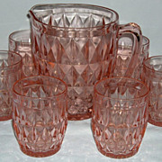 Windsor Pink Depression Glass Pitcher & Tumblers Set Real Nice!