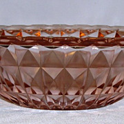 Windsor Pink Depression Glass Open Handled Bowl