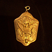 Large Vintage Brass Military Keepsake Locket