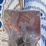 Victorian Sterling ~ Aesthetic Birds & Florals Locket ~ Silver Pendant