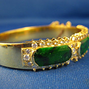 "SOLD 18K Gold ~ Jade Diamond Bracelet ~ 7-1/4"" Jadeite Bangle"