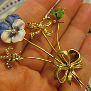 18K Gold ~ Pansy, Fleur de Lis, Bow & Holly Brooch ~ Enamel Diamond & Seed Pearl