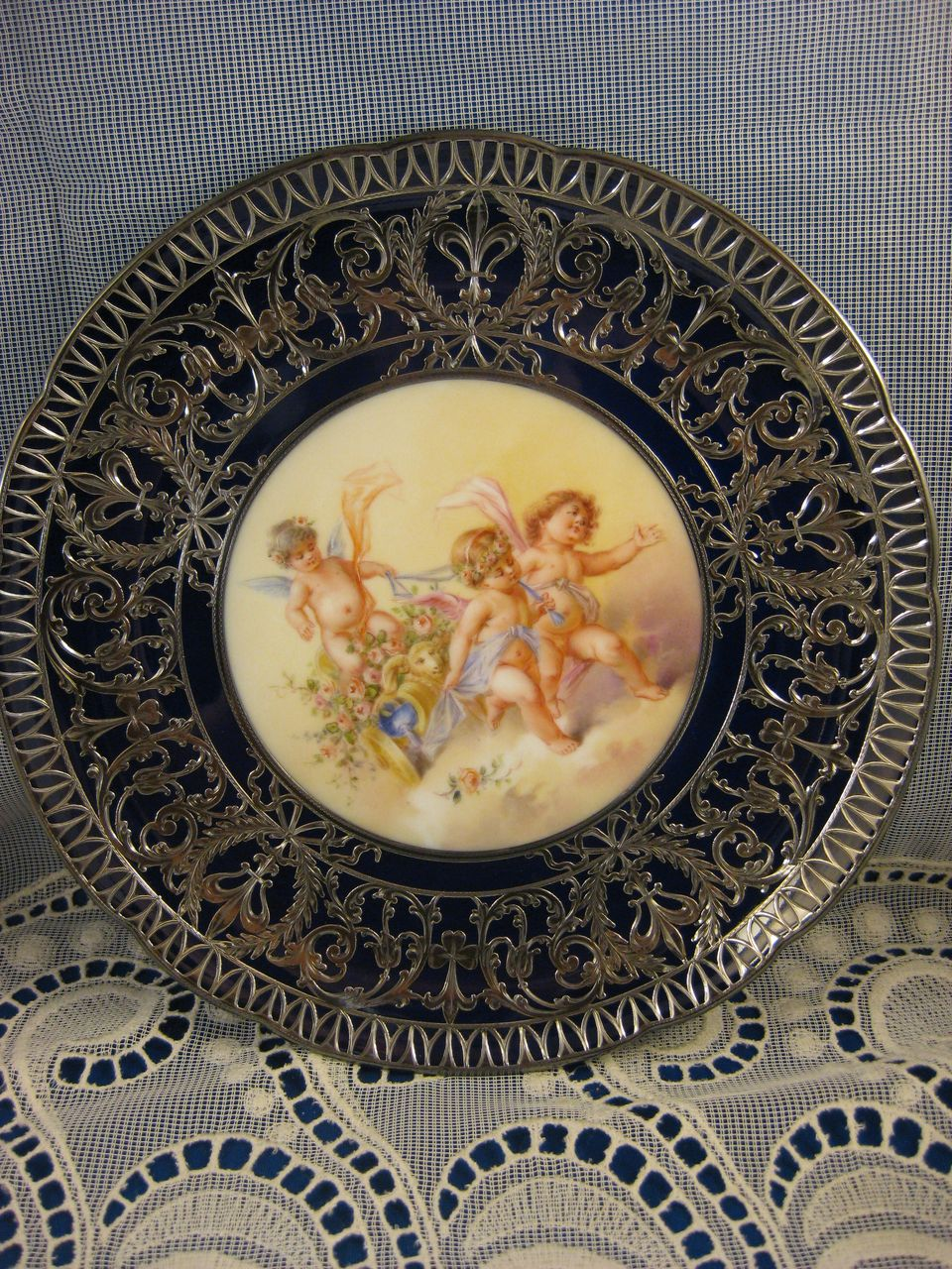 Royal Vienna Style ~ Cherub Handpainted Plate ~ Putti Sterling Silver Overlay