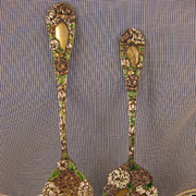 Durgin Chrysanthemum ~ ENAMELED SALAD SET ~ Sterling Silver Spoon & Fork Servers RARE!