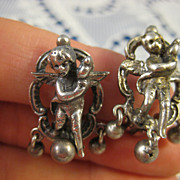 Signed Peruzzi ~ Silver Cherub Clip Earrings ~ Cupid Putti Dangles