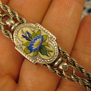 Sterling Victorian ~ Enamel Watch Chain Bracelet ~ Antique Silver