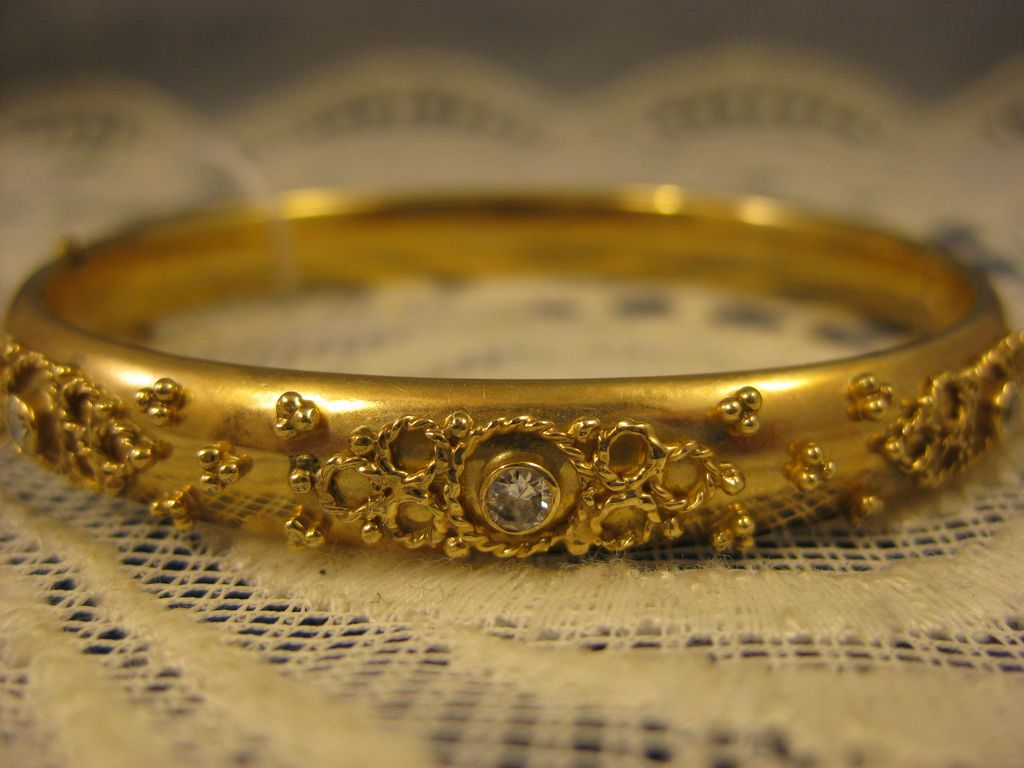 14K Yellow Gold ~ Diamond Bangle Bracelet ~ Estate Jewelry
