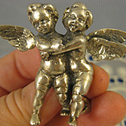 Signed Peruzzi ~ Winged Cherubs Brooch ~ Silver Cupid Putti Pin