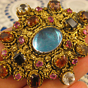 Jeweled  ~ Moonstone Garnet Ruby Crystal Brooch ~ Gilt Pin