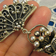 Lillian Pines ~ Fan & Basket Brooch ~ Sterling Silver Pin