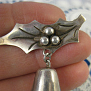 Damaso Gallegos ~ Silver Bell & Holly Brooch ~ Taxco Sterling Pin