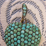 Victorian Antique ~ Pave Turquoise Puffy Heart Pendant ~ Sterling Silver Hair Locket
