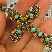 Antique Silver ~ Austro Hungarian Jeweled Cross Pendant ~ Austrian Turquoise & Garnets