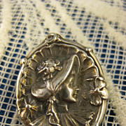 Sterling Art Nouveau ~ Lady in Bonnet Pin ~ Silver Brooch #2
