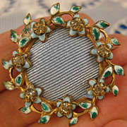 Victorian ~ Forget Me Nots Photo Portrait Brooch ~ Enamel & Rhinestone Frame Pin