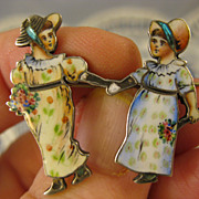 Antique Enamel ~ Victorian Girl Pin ~ German 900 Silver Brooch