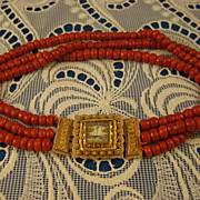 Zeeland Antique 1800's ~ 3 Row Blood Coral Necklace ~ Bloedkoraal Rose Gold Clasp