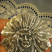Sterling ~ Unger Indian Chief Brooch ~ Art Nouveau Pin