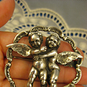 Sterling ~ Peruzzi Cherub Encircled Brooch ~ Cupid Putti Large Silver Pin