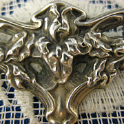 Sterling ~ Bearded Iris Flower Brooch ~ Silver Art Nouveau Pin