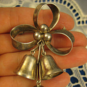 Sterling Damaso Gallegos ~ 3 Bell & Bow Ribbon Brooch ~ Silver Pin