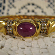 18K Gold ~ Ruby and Diamond Bangle Bracelet ~ Twist Motif Band