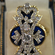 18k Gold ~ Enamel Diamond Cocktail Ring ~ Cobalt Blue Size 9