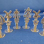 SALE 830 Dutch Silver ~ Windmill, Ship, Man & Woman Place Card Holders ~ Set of 6