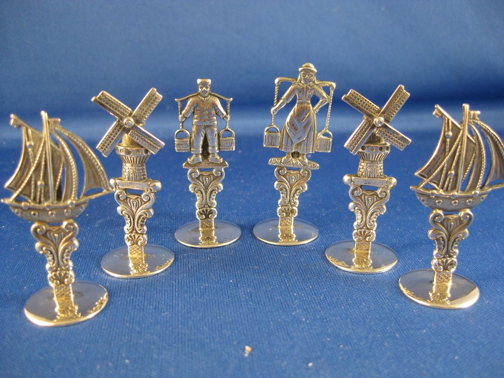 830 Dutch Silver ~ Windmill, Ship, Man & Woman Place Card Holders ~ Set of 6