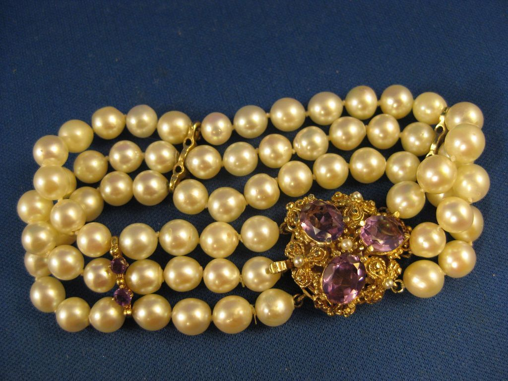 14K Gold ~ Pearl & Amethyst Bracelet ~ Multi Strand Pearls
