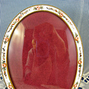 French Enamel ~ Rose Picture Photo Frame ~ Made in France