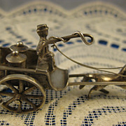SALE Dutch 830 Silver ~ Miniature Milk Wagon ~ Silver Horse