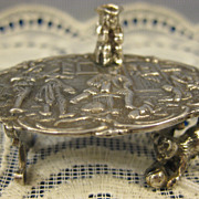 Antique Dutch Sterling ~ Miniature Table with Cat & Stein ~ Embossed Top