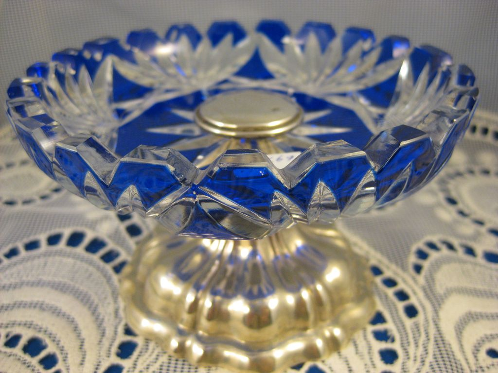 Continental Sterling ~ Cut to Clear Cobalt Compote ~ Glass with Silver Base