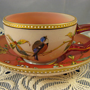 Antique Moser ~ Pink Bird & Florals Cup & Saucer ~ Hand Painted Jeweled Enamel