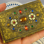 Enamel & Gems ~ Jeweled Czechoslovakia Box ~ Czech Trinket Card Case