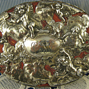 Sterling Mauser ~ Cherub Jewelry Box ~ Antique Silver Overlay Putti Leather
